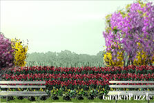 Garden design:bed of tulips