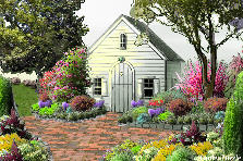 Garden design:cottage in spring