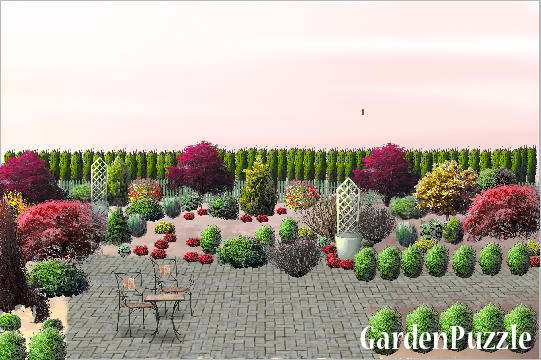 Garden design:nelson condo  Kitchen view - Autumn