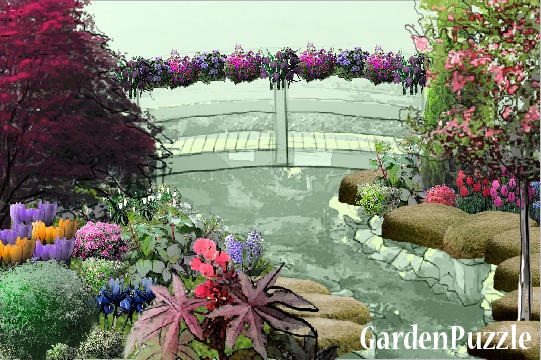 Garden design:bridge - Spring