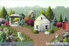 Garden design:house and trees