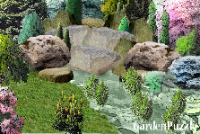 Garden design:water and rocks