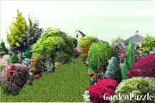 Garden design:garden path leading to house