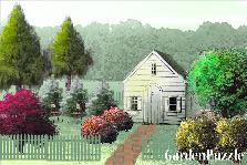 Garden design:Hut with berberis