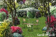 Garden design:relax under an umbrella