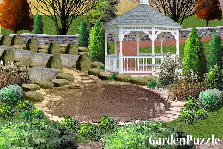 Garden design:back yard pond
