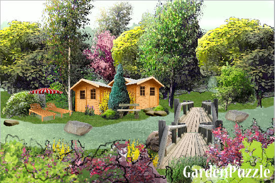 Garden design:over river - Spring