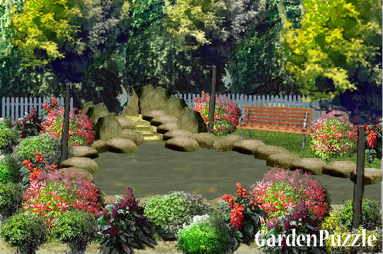 Garden design:backyard pond - Summer