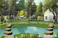 Garden design:house near the creek