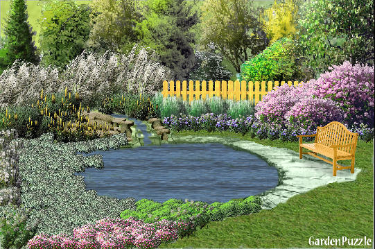 Sitting pond gardenpuzzle online garden planning tool for Garden pool crossword