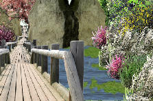 Garden design:bridge over the bay