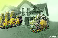 Garden design:private semi-attached home