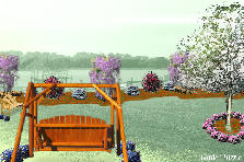 Garden design:swing by the lake