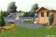 Garden design:vacation cabin w/hot tub