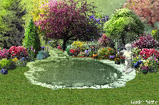 Garden design:Garden with a pond
