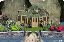 Garden design:castle in the mountains