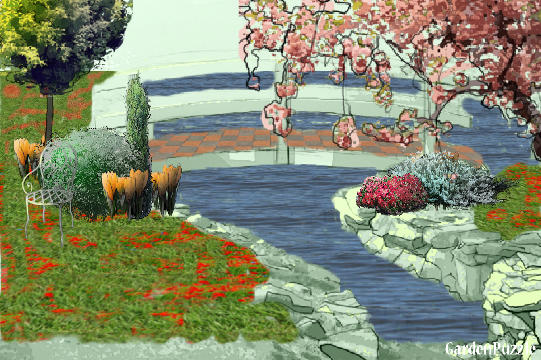 Garden design:Bridge Garden - Spring
