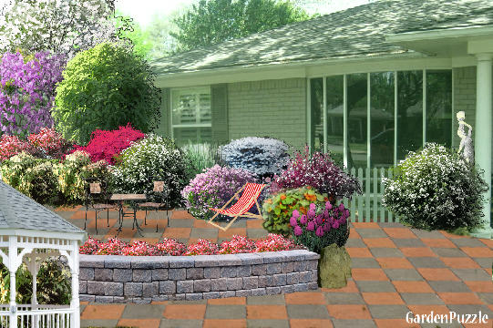 Front house gardenpuzzle online garden planning tool for Garden in front of house