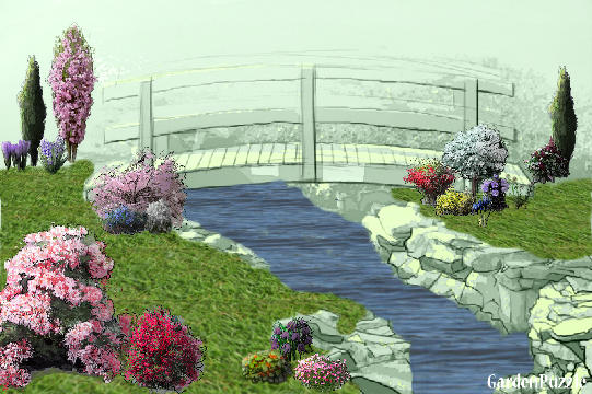 Garden design:Bridge and Flowers - Spring