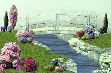 Garden design:Bridge and Flowers
