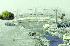 Garden design:japanese bridge