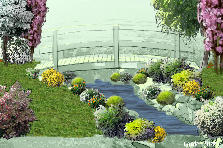 Garden design:A bridge in a country