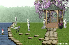 Garden design:gazebo and pond