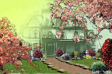 Garden design:victorian with cherry trees