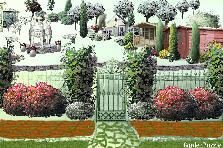 "Garden design:In front door "" The Square of the 3 Graces ""."