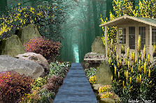Garden design:cabin in the forest