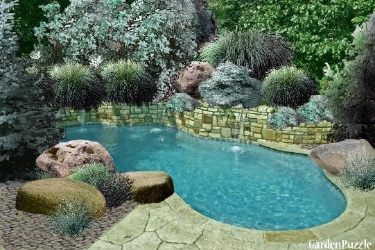 Pool with silver green plants gardenpuzzle online for Garden pool crossword