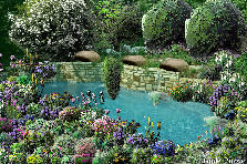 Garden design:flower pool