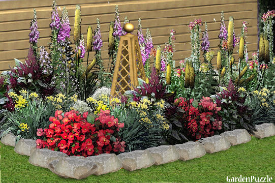 Flower bed gardenpuzzle online garden planning tool for Flower garden designs