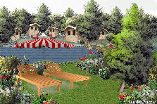 Garden design:Red birds resort...