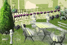 "Garden design:""The Purple Brick Yard Cafe"""