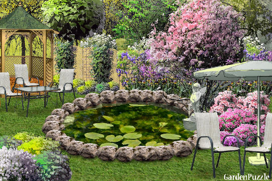 Garden design:Around the lake. - Spring