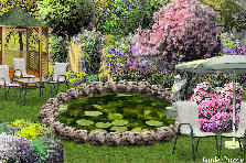 Garden design:Around the lake.