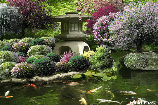 Korean garden house and koi pond gardenpuzzle online House and garden online