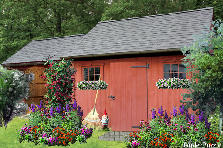 Garden design:Red Garden Shed
