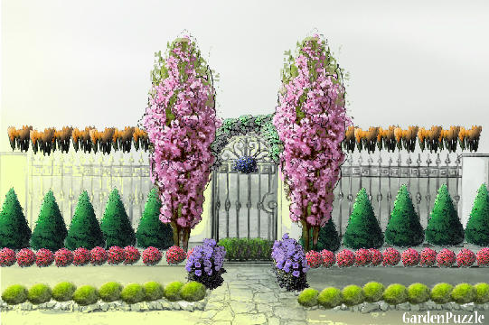 A compound wall gardenpuzzle online garden planning tool for Compound garden designs