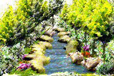 Garden design:Walking on the river