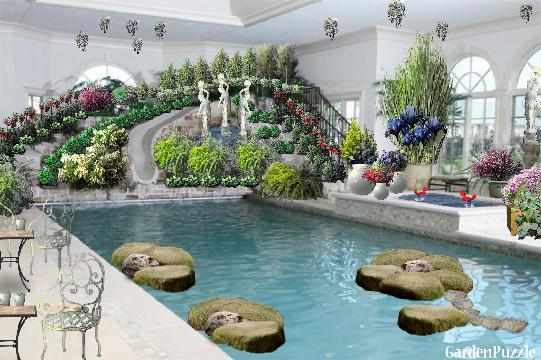 Red my version coffee garden swimming for Garden pool crossword