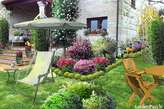 Garden design:esquina...-My version,The Garden of shrubs - Spring