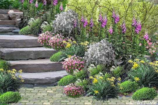 Cottage garden stone path gardenpuzzle online garden for Cottage garden design
