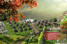 Garden design:Bad weather over the little farm.