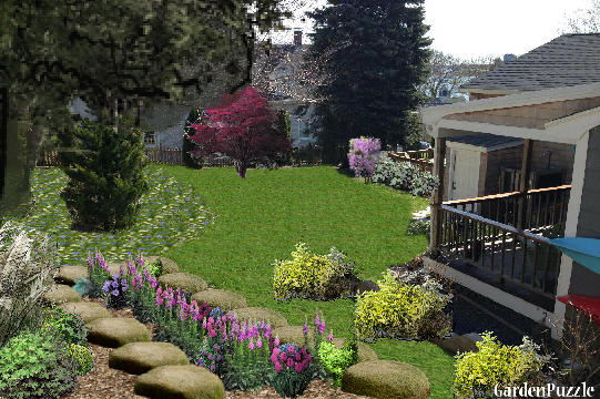 Garden design:Backyard - Spring