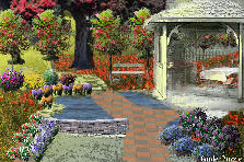 Garden design:gazebo,pond