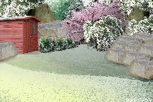 Garden design:White falls