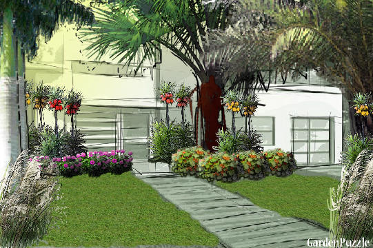 Garden design:palm tree garden  - Spring