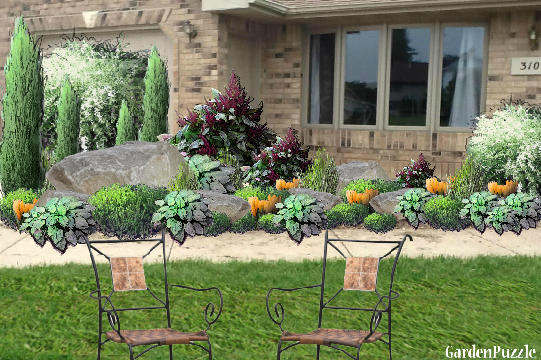 Garden design:Ranch style home - my version - Spring